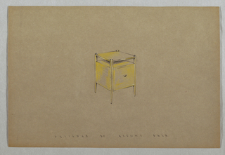 Drawing, Side table with top shelf