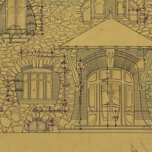 Design for the principal facade of the private house of Mr. Laurent; rough stone and brick indicated in drawing; mansard-type roof covers main section of house; canopy over main entrance, smaller doorway, left, seen through archway. Scale noted throughout drawing.