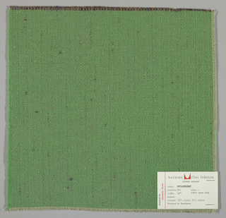 Weft-faced plain weave with doubled warps in overall green color. The weft consists of heavy green yarns. The doubled warps are comprised of fine threads in blue and brown. Number 691.