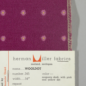 Warp-faced twill in violet with supplementary warp patterning used to create pink dots with yellow centers. Number 345.