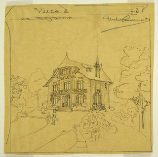 Perspective view of a two and a half story villa set in a small park. A figure of a woman on a path in the foreground, surrounded by foliage. Inscription and signature at top.