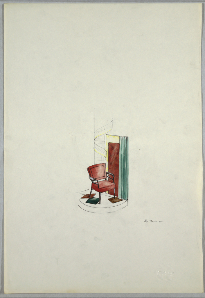Drawing, Chair display with sign e