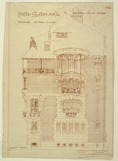 Drawing of Hotel Guimard at rue Mozart. Drawing indicates elevation and facade of building. Inscriptions at top and bottom right.