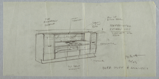 Drawing, Prefabricated kitchen uni