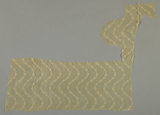 Band of ecru lace made in imitation of Alençon. Design shows serpentine bands of flowers alternating with serpentine lines.