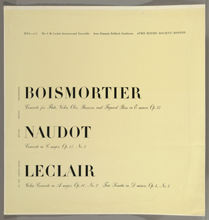 Record Cover, Boismortier, Naqudot, and Leclair
