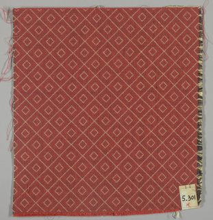 Double cloth in red with a yellow double-diamond line pattern. Number 5.301