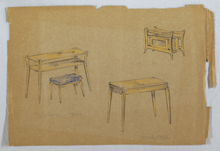 Drawing, Telephone table and stool