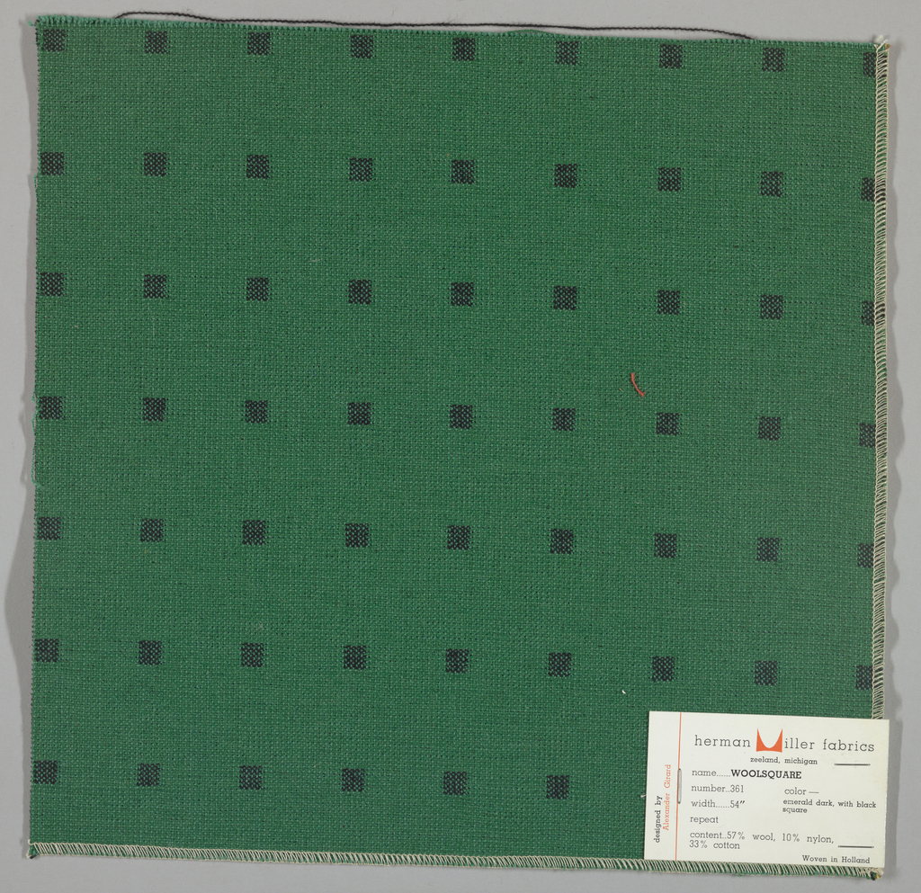 Doublecloth with a green ground and black squares. Number 361.