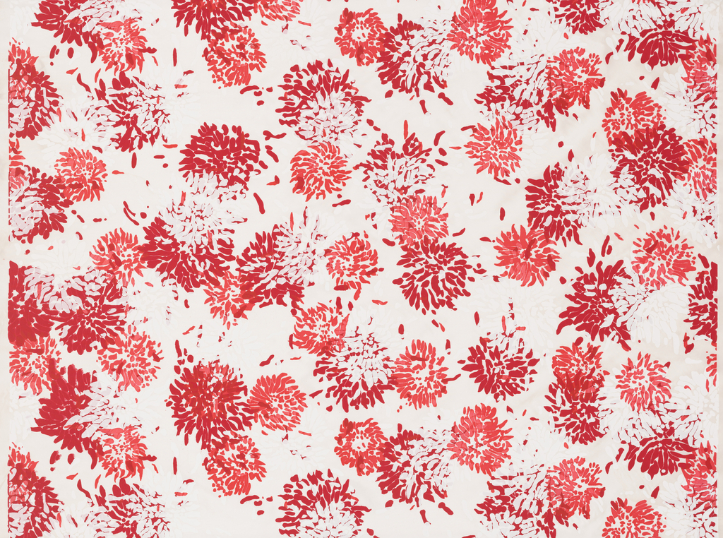 Length of off-white silk screen printed with painterly clusters of chrysanthemums in red, deep pink and white.