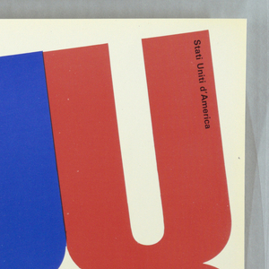 """Printed text """"usa"""" arranged vertically, repeating across white ground in a diagnal line, alternating between red and blue. Black printed text at upper left and lower right."""