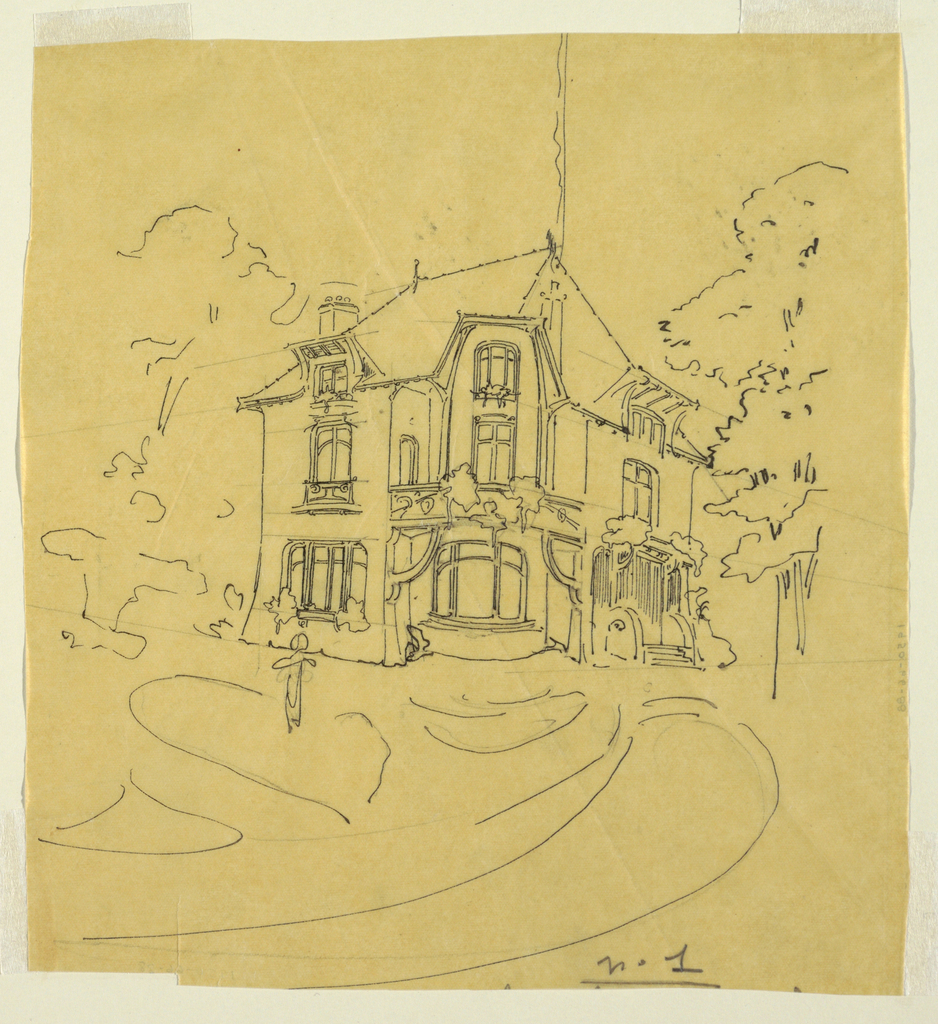 A perspective sketch, design for a private residence. Gabled roof, large windows, entrance at right. Indications of foliage and trees.