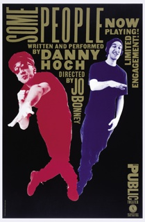 "Two photographic images of Danny Hoch in the shape of a ""V"" on top of and in between are title of performance and the credits in simple uppercase font resembling wood type.  Public Theater logo runs vertically at lower right."
