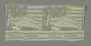 "Lace showing airplanes against a backdrop of stars and stripes with text along the bottom edge that reads ""Hurra to Lindbergh."" Commemorative of Lindbergh's flight over the Atlantic Ocean, May 20-21, 1927."