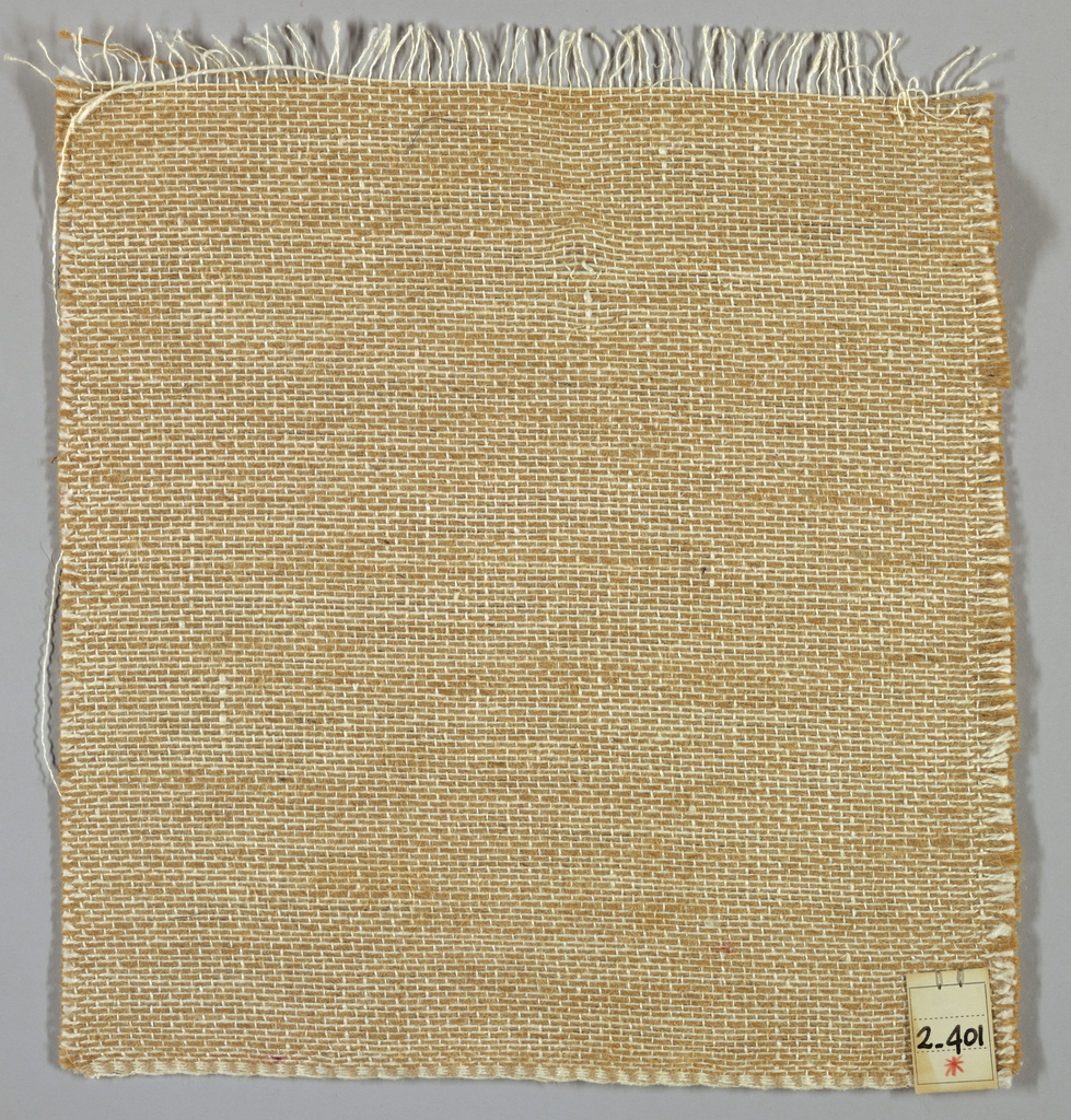 Plain weave with doubled warps in tan and white. Weft threads are white with wide spacing. Number 2.401.
