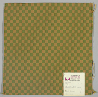 Doublecloth in a checkerboard pattern of tan and olive green. Number 1922.