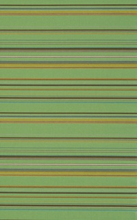Length of woven fabric with irregular groupsof thick and thin horizontal stripes. In glossy rayon with a brilliant lime green ground and stripes of brown, gray, dull blue, bright turquoise, ochre, bright orange-yellow, and white.