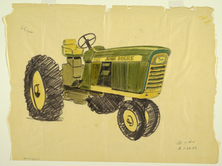 "Design for a John Deere tractor, a vehicle intended for agricultural, farming, or construction purposes. The design is green and yellow and is facing left to highlight front and side screens. Features yellow and black tires, a yellow seat, a yellow horizontal strip across the side with the words ""JOHN DEERE"" in green, and the green and yellow leaping deer company logo on the front. The number ""840"" appears in green on the side against a yellow background. A sketch in graphite of two parts, perhaps relating to the front of the tractor, appears in the lower center."