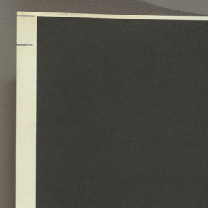 Square format, design for album cover featuring the suites for orchestra composed by Johann Sebastian Bach. Composition divided into three rectangular bands of color with a large black rectangle at top, blue rectangle at bottom, and smaller thin orange rectangle on white ground at center. Printed text aligned at left.