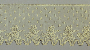 Scalloped border of Point d'Alençon in a pattern of repeated floral spray pattern on réseau ordinaire. Dotted with tear-shaped leaves – semé de larmes (sown of tears). Modes: Point Mignon, enchainettes.