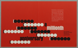 Horizontal rectangle with bright red solid background. Throughout lower half of the composition, the abstracted form of the number 1,000,000 in black and white rectangle and circles repeats vertically and horizontally, alternating between one white rectangle with six black circles and one black rectangle with six white circles. Text interspersed between forms.