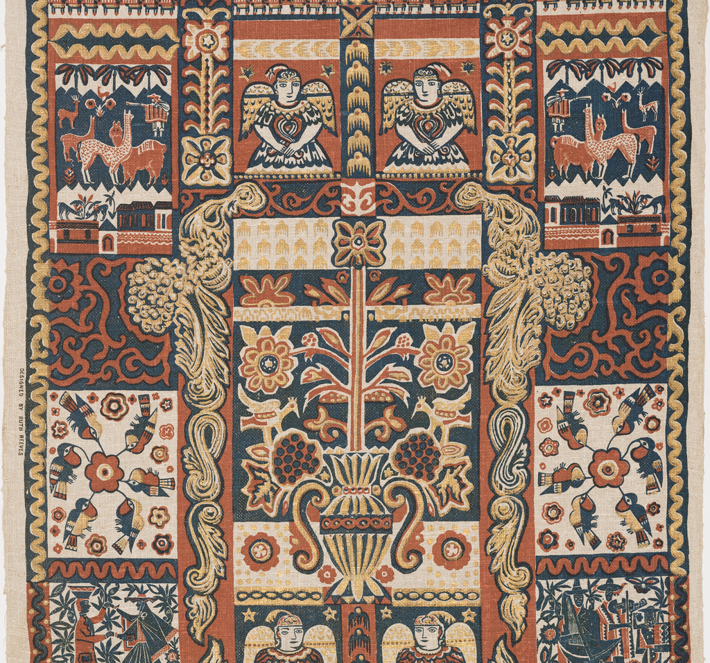 Length of printed linen with a bold, large-scale design of Peruvian-inspired motifs including angels, a dancing couple, birds surrounding a flower head, and llamas, in a grid-like framework composed of urns, scrolls, and other architectural features. In deep blue and rust with gold leaf.