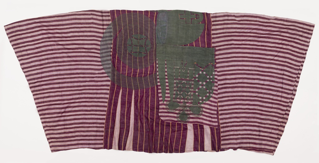 Wide-sleeved robe of alaari or waste silk in magenta and white stripes, with subtle stripes of yellow cotton. Elaborate embroidery on the front and back chest in green silk.