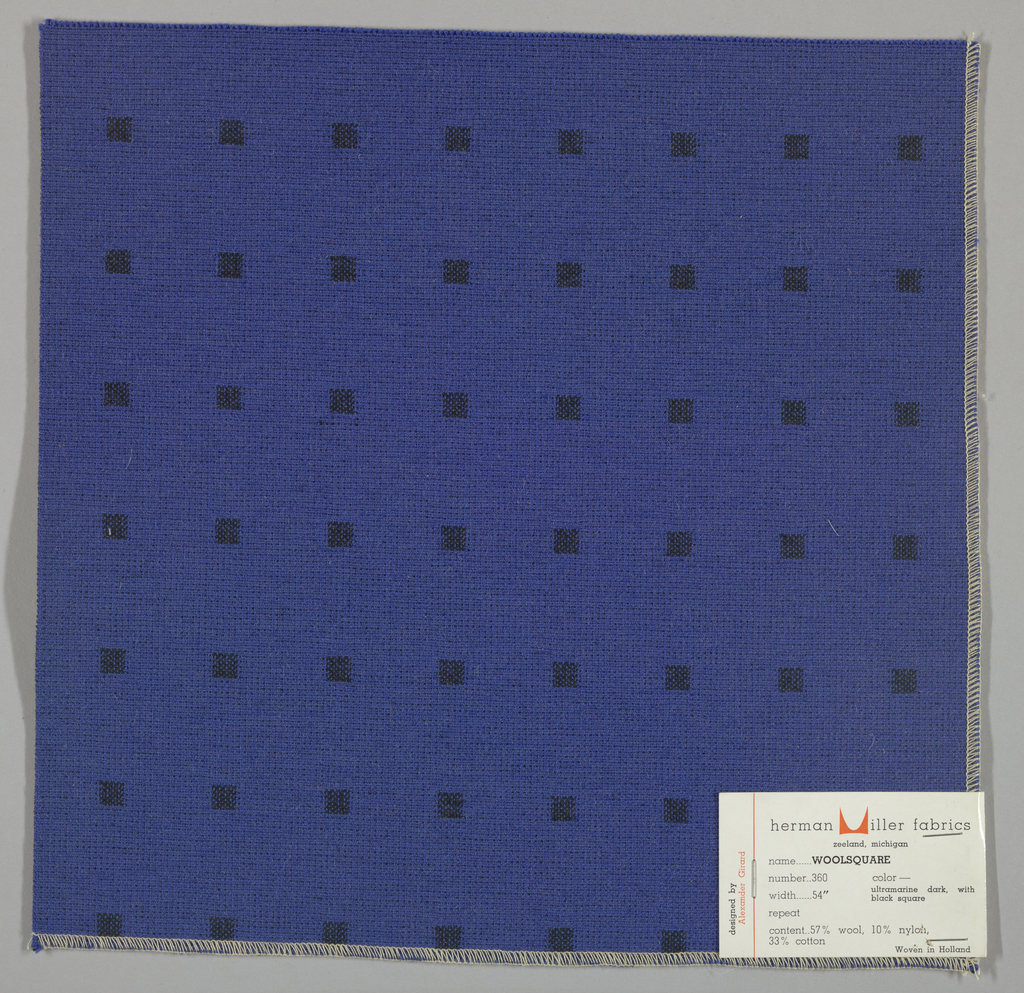 Doublecloth with a blue ground and black squares. Number 360.