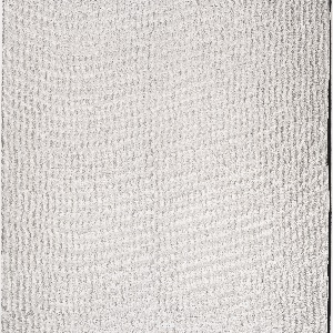 Upholstery textile with a textured, metallic silver surface resembling a woven grid. Non-woven polyurethane bonded to a knitted backing.