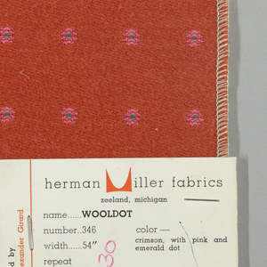 Warp-faced twill in crimson with supplementary warp patterning used to create pink dots with blue centers. Number 346.