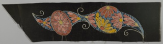 Floral paisley motifs embroidered in yellow, orange, and pink chenille, with turquoise and royal blue twisted thread accents, silver metallic couched outlines, on dark brown/black satin ground.