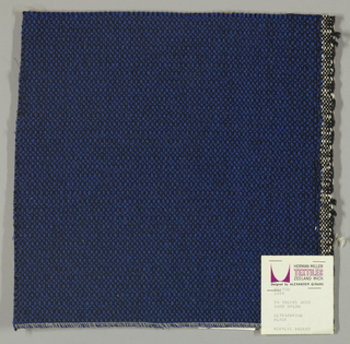 Coarse plain weave with blue warp and black weft.