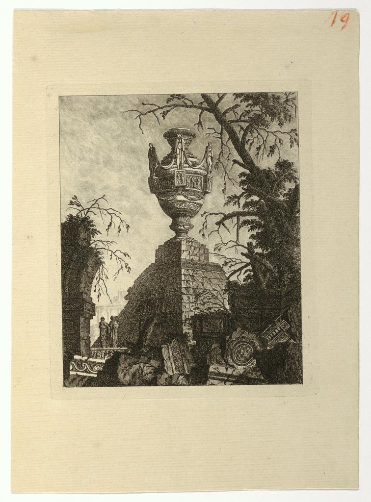 """Print, Pyramide surmontée d'un vase monumental, from """"Collection de divers sujets de vases, tombeaux, ruines et fontaines, utile aux artistes..."""", 1768, published 1770"""