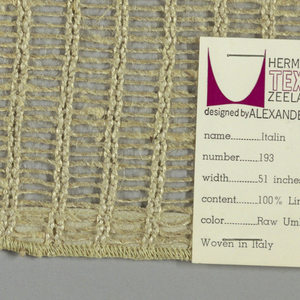 Gauze weave in light brown. Pairs of warp threads give vertical stripe effect.
