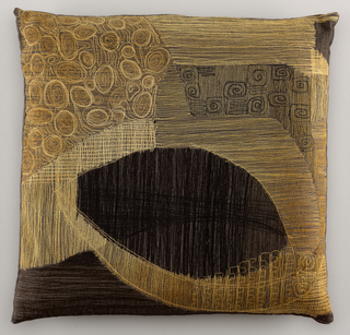 Square pillow, grey cotton, machine emboirdered in black, white, grey and light brown, in abstract design.