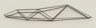 Elongated geometric construction of rigid thin black-lacquered wires forming triangular segments.