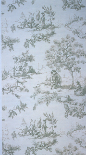 Landscape vignettes, including man standing by horse with seated woman under tree; woman standing near man seated by rock, woman and child reaching up to floral-filled urn; printed in green and brown on off-white ground. Printed in a toile or chintz format.