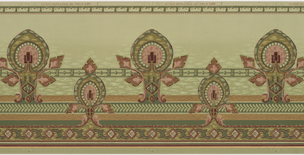 Repeating large and small foliate medallions printed in green, mauve, brown, and metallic gold on a green pinstripe background.