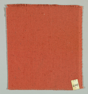 Plain weave in red-orange with paired warps. Paired warps have a red-orange yarn with a slight sheen.