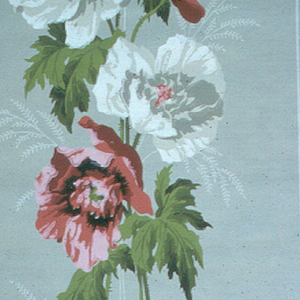 Large red and white flowers with green leaves and stems, forming vertical stripe on gray ground. Narrow light gray bands along right edge.