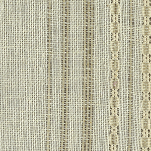 Plain weave in beige and white with leno patterning. Warp threads are both beige and white. Heavy warp threads in white form a leno pattern, which gives a vertical stripe effect. Weft threads are comprised thin white threads.