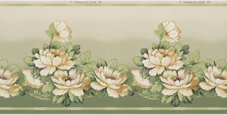 Large scale magnolias printed in greens, tan, burgundy, and metallic gold; background shades from green to tan.