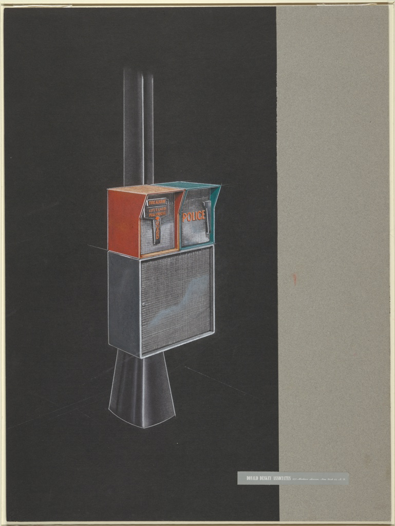 Drawing, Design for New York City Streelight Pole with Emergency Call Boxes and Speaker