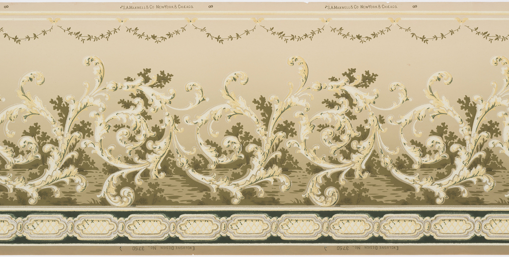 Connected large rinceaux with single border of lozenge forms connected in a chain-like fashion. Above rinceaux are delicate garlands. Printed in dark green, pale yellow, silver, tan, white and olive green.