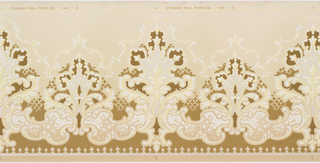 "A repeating design of elaborate arabesques silhouetted in a darker color with a ""halo"" of a scrolling acanthus design upon a ground that is dark at the base, and light above the design. Very elaborate, but monochromatic. Printed in white, cream, beige, taupe and pale yellow."
