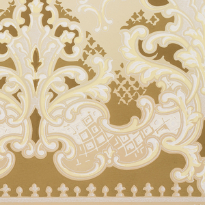 """A repeating design of elaborate arabesques silhouetted in a darker color with a """"halo"""" of a scrolling acanthus design upon a ground that is dark at the base, and light above the design. Very elaborate, but monochromatic. Printed in white, cream, beige, taupe and pale yellow."""