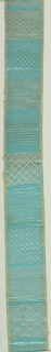 Eleven patterns worked on four-sided double-ply twisted mesh. Mounted on stiff green paper.