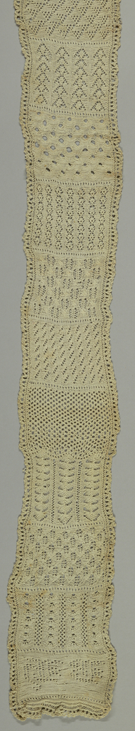 Long narrow sampler of fifteen knitted patterns with a border of knitted lace.  Initials B.H. at lower edge.
