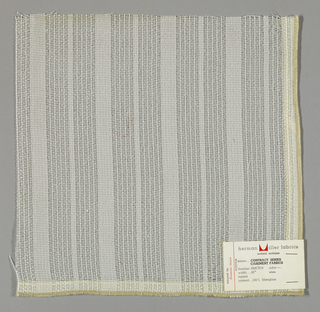 Gauze weave in white. Intervals of tightly grouped warp threads give a stripe effect.