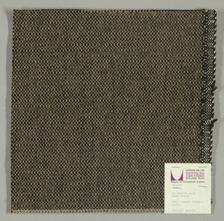 Coarse plain weave with light brown warp and black weft.